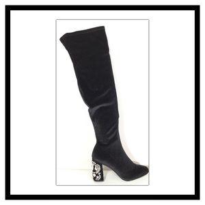 213eff2b513a Betsey Johnson Shoes - Betsey Johnson Black Velvet Over-The-Knee Boot